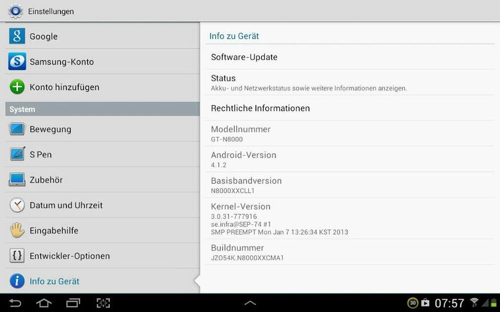 Samsung Galaxy Note 10.1 bekommt kleines Update (N8000XXCMA1)