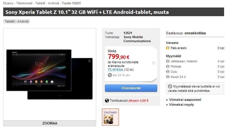 Sony Xperia Tablet Z erstmals auch in Europa ab 799 Euro gesichtet - Update: Finnischer Händler streicht das Tablet
