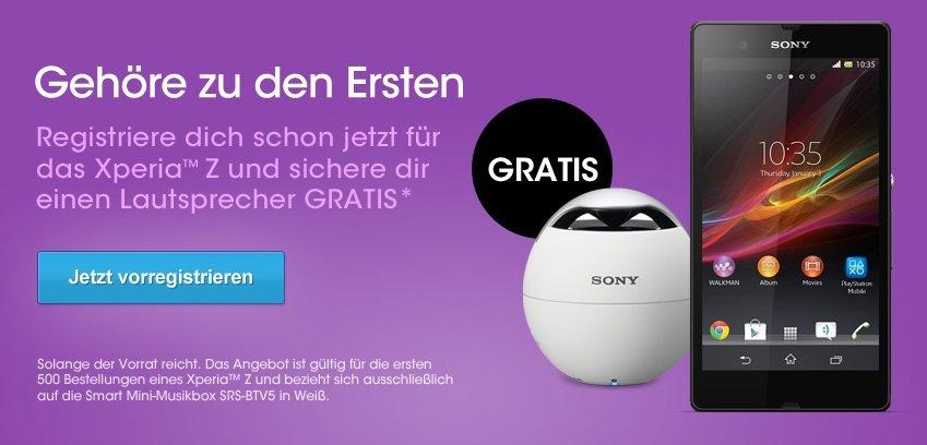 Sony Xperia Z direkt bei Sony kaufen und NFC Bluetooth Lautsprecher kostenlos absahnen