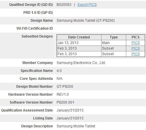 Samsung Galaxy Tab 3 Plus (GT-P8200) mit Exynos 5 Prozessor: Weitere Bestätigung durch Bluetooth SIG