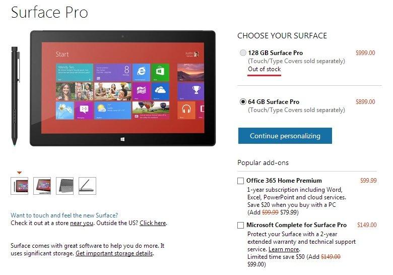 Surface Pro: 128 GB Version in wenigen Stunden im US Microsoft Store ausverkauft und ein erstes Unboxing Video