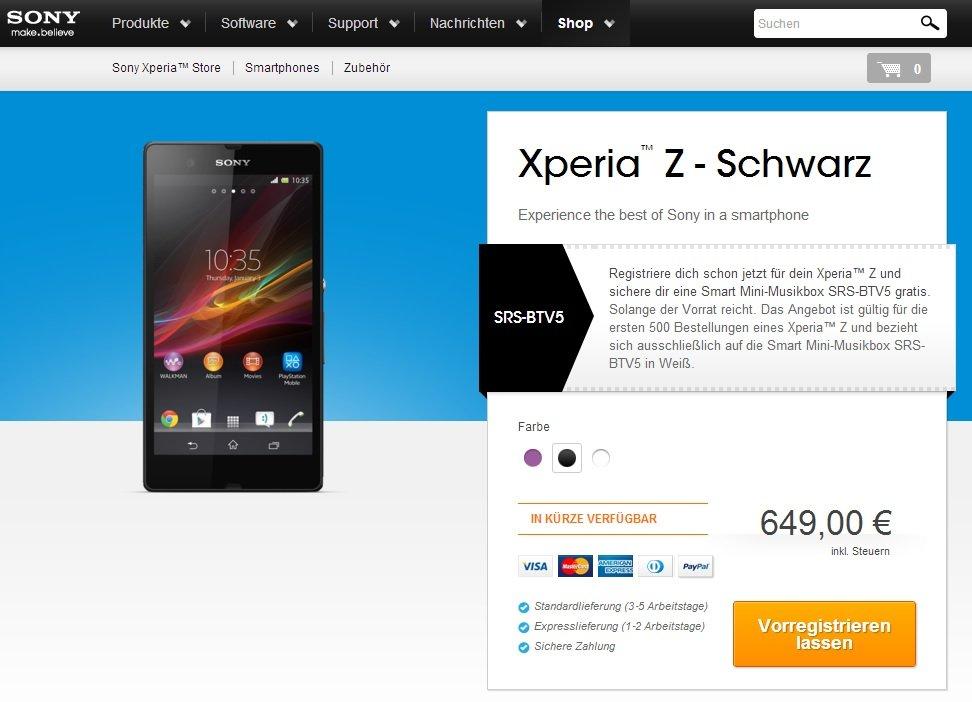 Sony Xperia Z kostet in Deutschland offiziell 649€