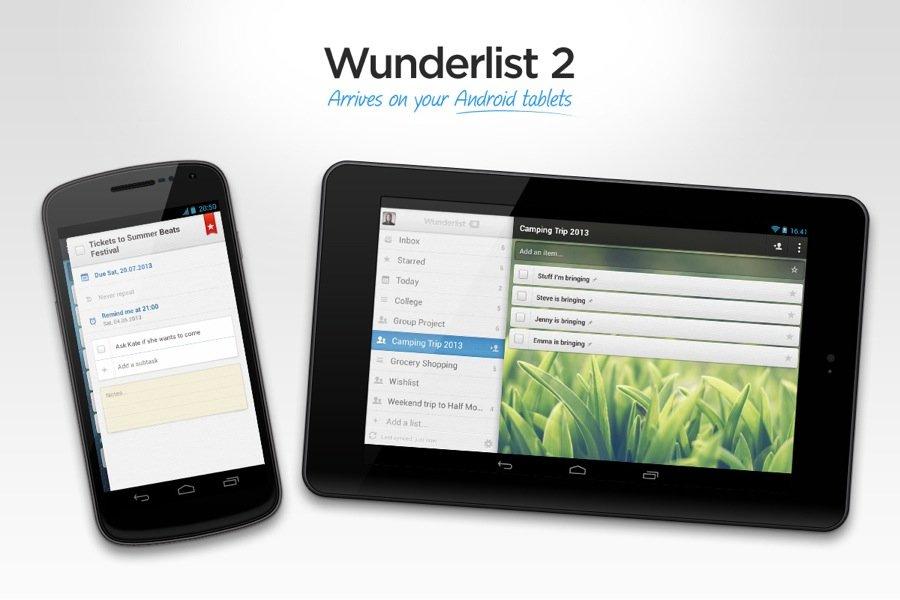 Update für Wunderlist 2 bringt Unterstützung für Android-Tablets