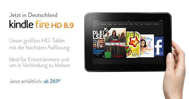 Amazon Kindle Fire HD 8.9 ab sofort in Deutschland für ab 269€ verfügbar