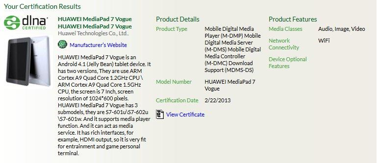 Huawei MediaPad 7 Vogue: Tablet mit Quad-Core-Prozessor und Android 4.1 aufgetaucht