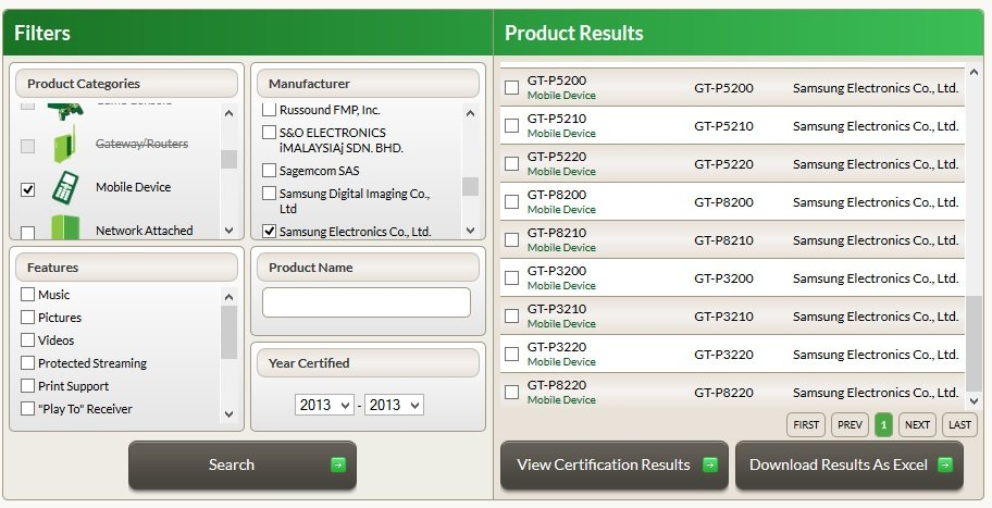 Komplette Samsung Galaxy Tab 3 Serie bei der DLNA-Zertifizierung