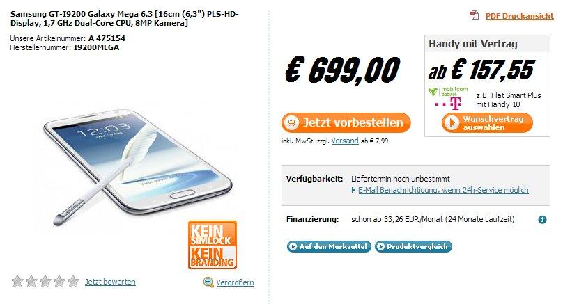Samsung Galaxy Mega 6.3: Ab sofort für 699 Euro vorbestellbar