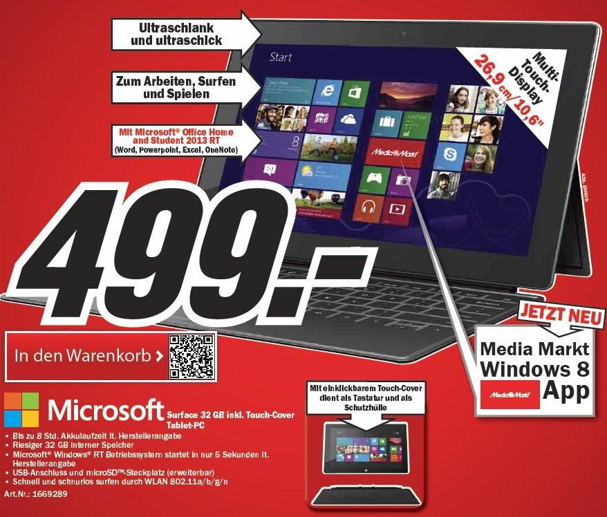 Microsoft Surface RT mit Touch-Cover bei Media Markt ab morgen für 499€
