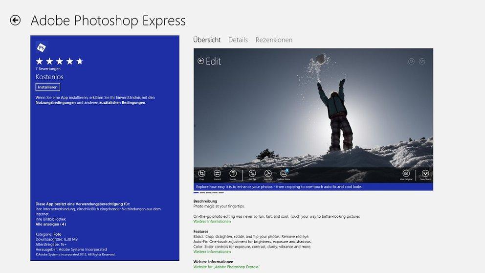 Adobe Photoshop Express: Kostenlose Windows 8 App veröffentlicht