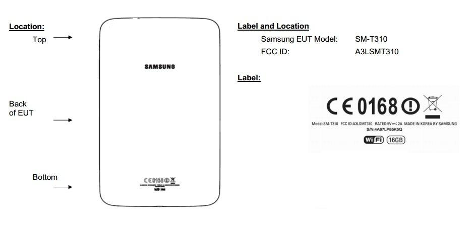 Samsung Galaxy Tab 3 8.0 (SM-T310) bei der FCC - Design angedeutet