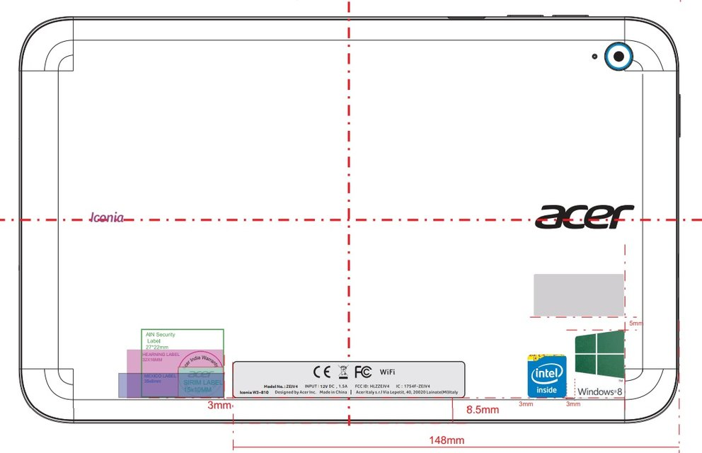 Acer Iconia W3: Windows 8 Tablet mit 8,1-Zoll-Display bei der FCC