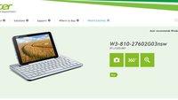 Acer Iconia W3 kostet 329€ mit 32 GB und 379€ mit 64 GB - Update: Keyboard 69€