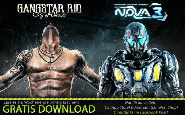 N.O.V.A. 3 und Gangstar Rio für iOS und Android aktuell kostenlos