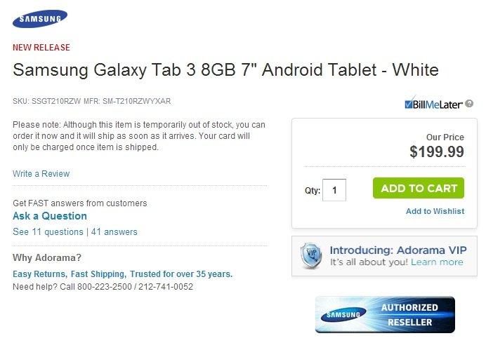 Samsung Galaxy Tab 3 mit 7 Zoll wird für 199 Dollar gelistet