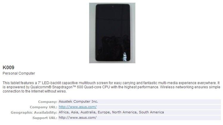 Neues Nexus 7 (Asus K009) kommt mit Snapdragon 600, LTE und 5-MP-Kamera - Erstes Bild aufgetaucht