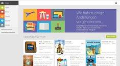 Google Play Store im Browser mit neuem Design und fehlenden Funktionen