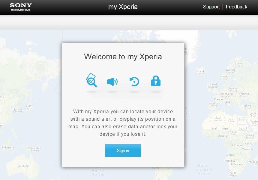 Mit Sony my Xperia Smartphone aus der Ferne Orten, Sperren und Löschen