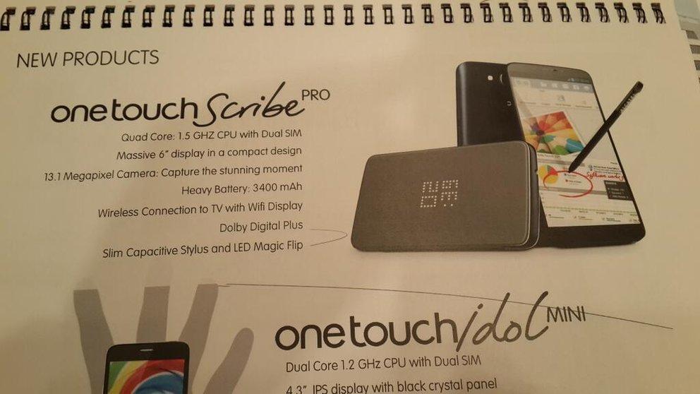 Alcatel One Touch Scribe Pro mit 6 Zoll, 3.400-mAh-Akku und LED Magic Flip Case geleakt