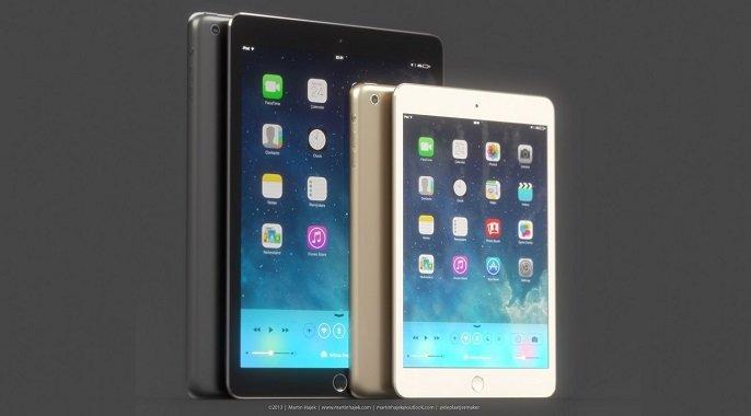 Mockup: iPad mini 2 in Gold &amp&#x3B; mit Touch ID - In Zukunft mit reflexionsarmen Displays?
