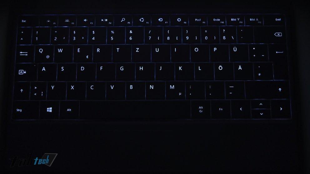 Hintergrundbeleuchtung der Touch und Type Cover