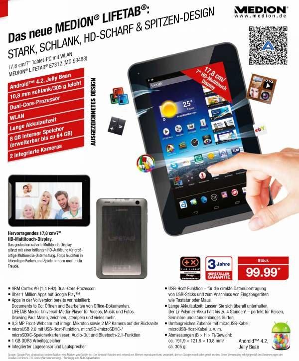 Medion Lifetab E7312 (MD 98488): 7 Zoll 99€ Tablet bei Aldi ab dem 24. Oktober