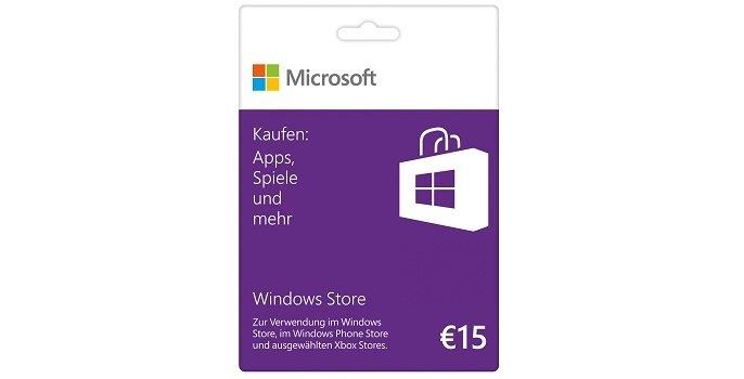 Windows Store Guthabenkarten mit 15€, 25€ &amp&#x3B; 50€ verfügbar