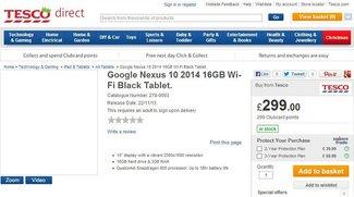 Google Nexus 10 (2013) kurzzeitig bei Tesco aufgetaucht?