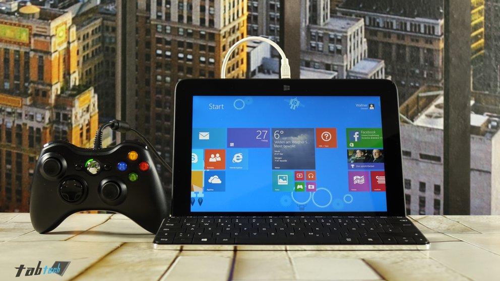 HP Omni 10 mit Tastatur und Gamepad