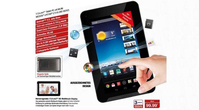 Medion Lifetab E7316 (MD 98282): 99€ 7 Zoll Quad-Core Tablet bei Aldi am 19. Dezember