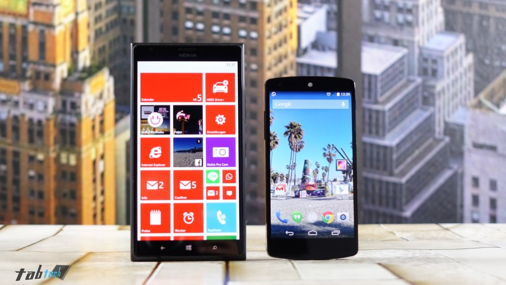 Lumia 1520 vs. Nexus 5 Größe