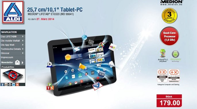 Medion Lifetab E10320 (MD 98641) Tablet für 179€ am 27. März bei Aldi Nord