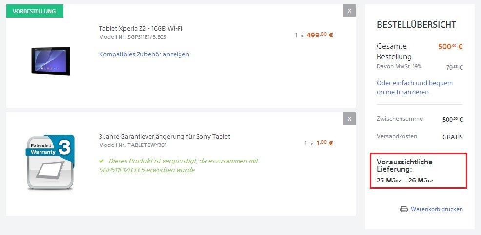 sony xperia z2 tablet verfügbarkeit garantie