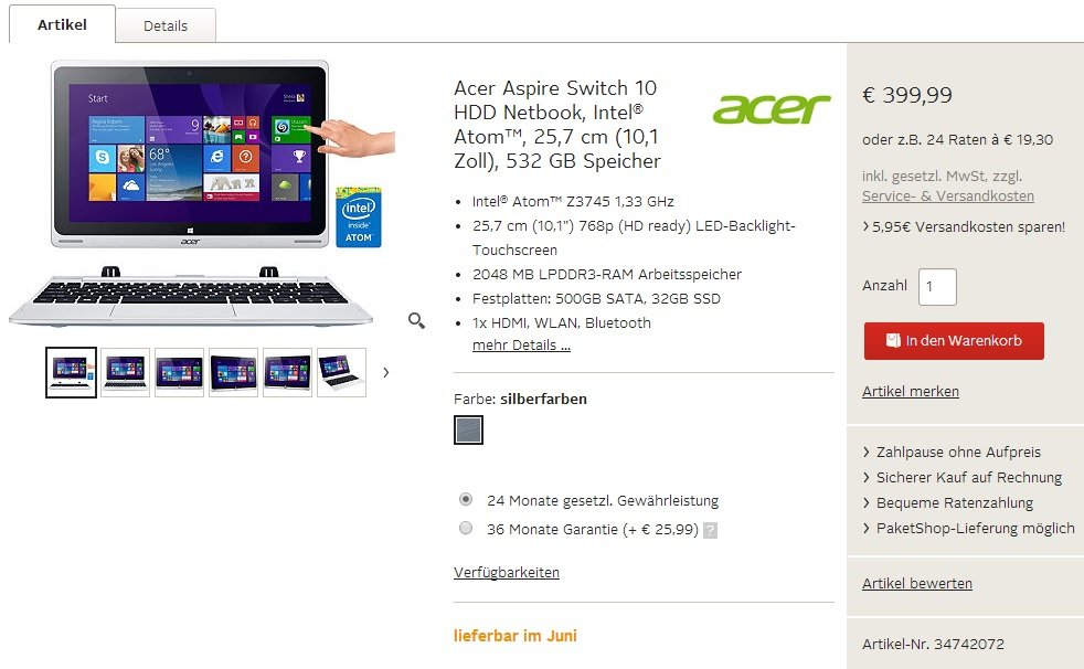Acer Aspire Switch 10 HDD Otto