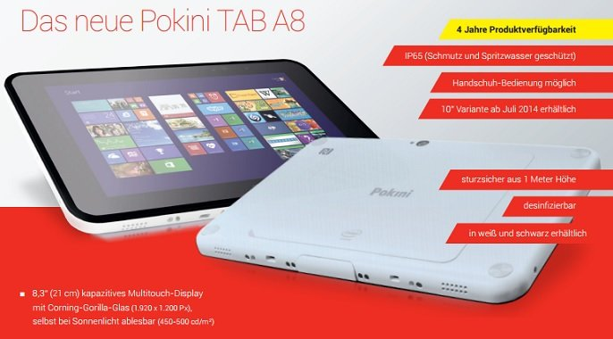 Pokini TAB A8: Robustes 8,3 Zoll Tablet mit Windows 8.1 &amp&#x3B; Android