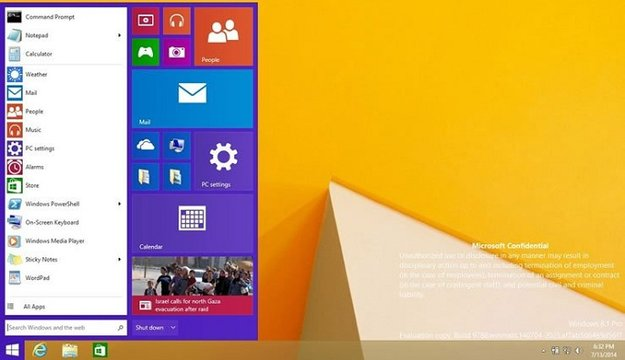 Windows 9 Build 9788 Screenshot enthüllt neues Startmenü