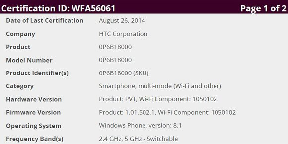 HTC One M8 for Windows international wifi