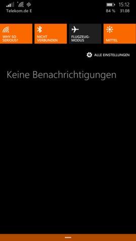 Lumia 930 Action Center