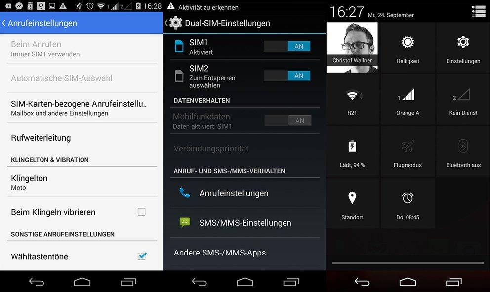 Moto G 2 Dual SIM Einstellungen