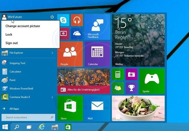 Windows 9 Startmenü im Video demonstriert
