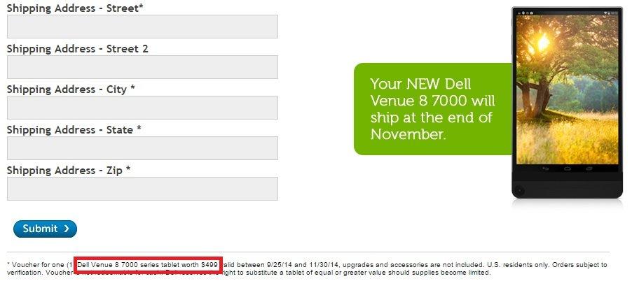 Dell Venue 8 7000 Preos