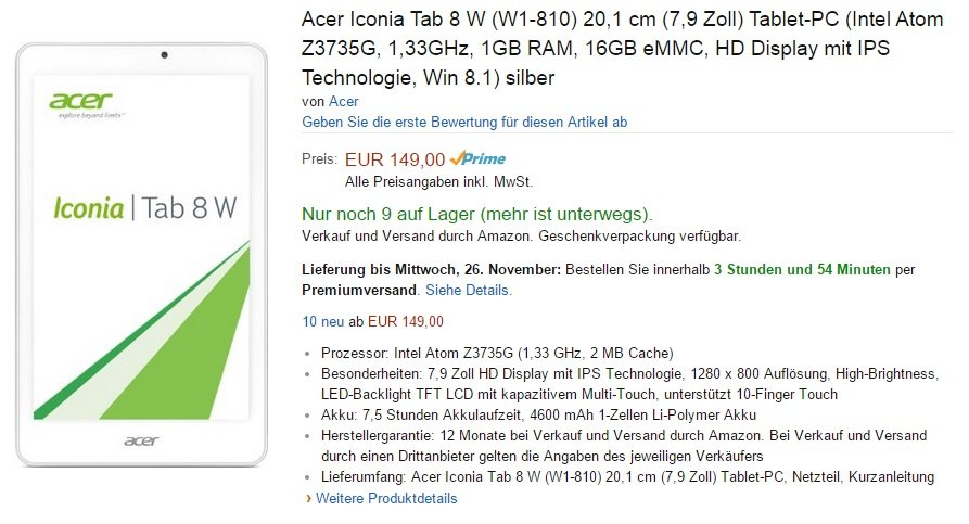 Acer Iconia Tab 8W Amazon