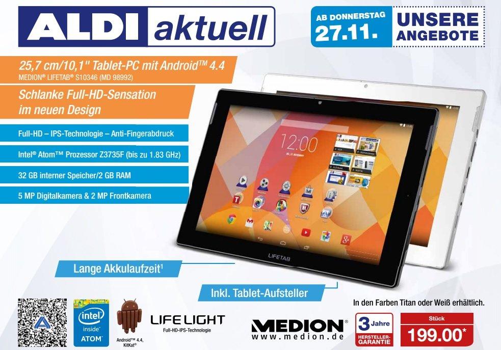 Medion Lifetab S10346 (MD 98992) für 199€ am 27.11 bei Aldi Nord