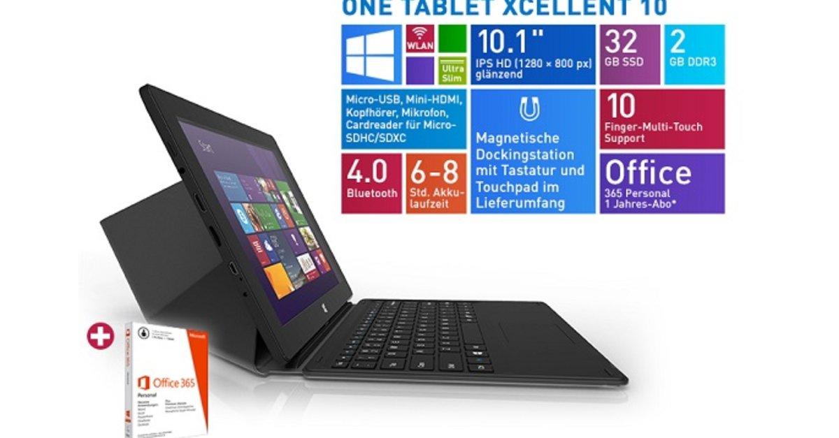 ONE Xcellent 10 Tablet Mit Windows 81 Amp Tastatur Fur 169