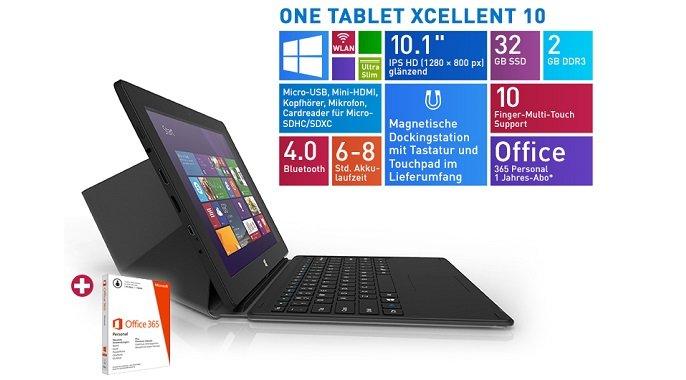 ONE Xcellent 10 Tablet mit Windows 8.1 &amp&#x3B; Tastatur für 169€
