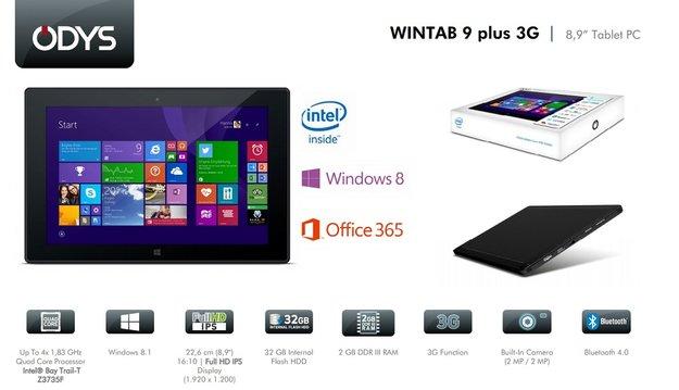 Odys Wintab 9 Plus 3G: 8,9 Zoll Windows-Tablet mit FHD-Display & UMTS für 219€
