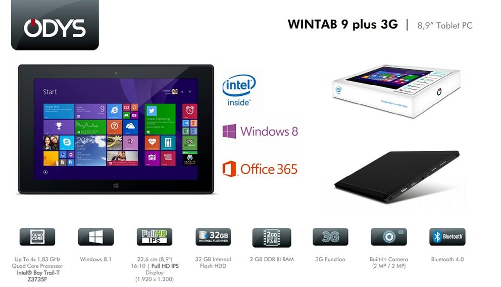 Odys Wintab 9 Plus 3G: 8,9 Zoll Windows-Tablet mit FHD-Display &amp&#x3B; UMTS für 219€