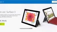 Surface 3 für Studenten mit 10% Rabatt ab 539,10€ bei Microsoft vorbestellen