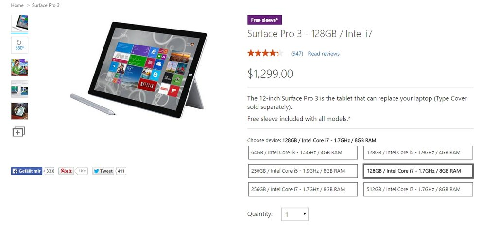 surface pro 3 intel core i7 128 gb 8 gb ram