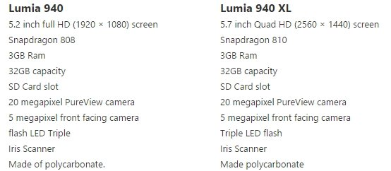 lumia 940 lumia 940 xl specs leak