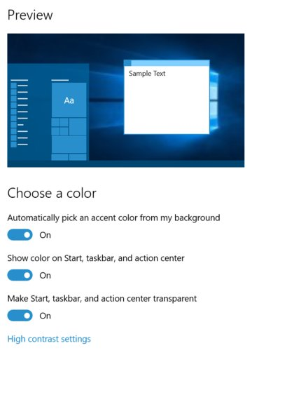 Windows 10 Build 10525 Color preview